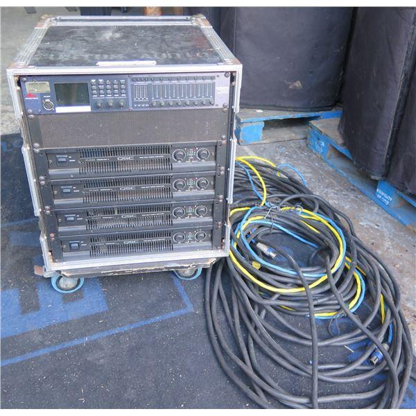 QSC Rack #2- 4 QSC Powerlight Amps; DBX 4800 Digital Proc and 2 x 100' quad cables