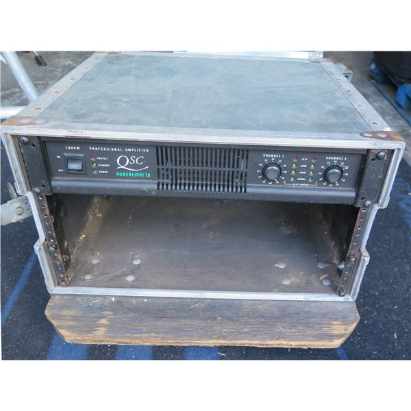 QSC PowerLight 1.8 Power Amp in ATA Rack,   650 watts per channel @4ohms