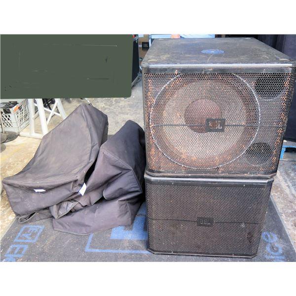 "Pair of JBL 718S,  18"" Sub High-Power Sub Bass Speaker,  w/slip-overs cover"