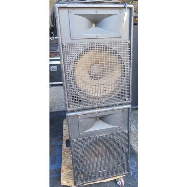 """Pair of JBL MR825 Speakers,  2 way 12"""" + HF Drivers,  2 - 1/4""""  Speaker Cables"""