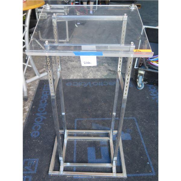 Lectern - Acrylic w/ Metal Legs & Base, Plexiglas Top & Shelf