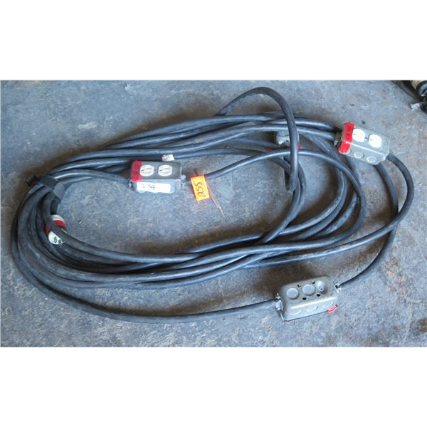 Stage Power Cable w/4 Edison Dupex Boxes - 30'