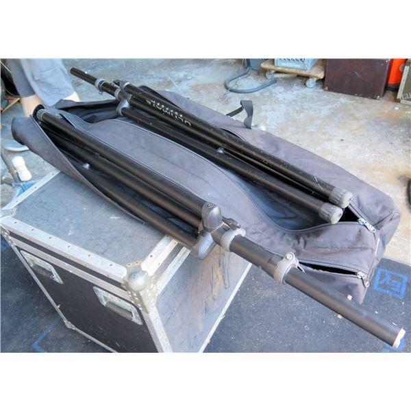 Pair USSTS88B Tall Black Speaker Stands, Tripod, In Dual Zippered Storage Bag