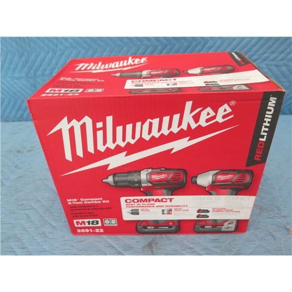 Milwaukee 2691-22 M18 Compact 2-Tool Combo Kit New in Box