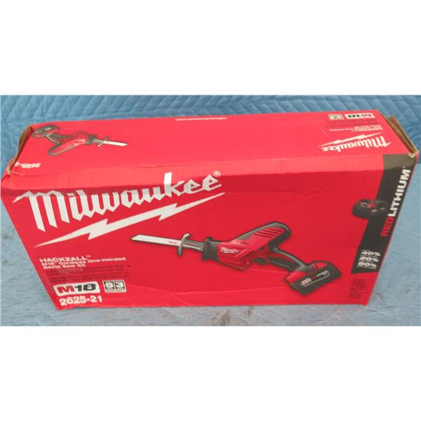 Milwaukee 2625-21 M18 Hackzall One Handed Recip Saw Kit New in Box