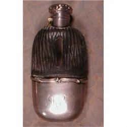 GORHAM Sterling FLASK Leather Glass 3/16 pint #1985428