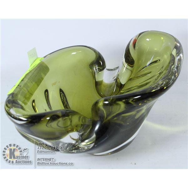 VTG MCM GREEN SIGNED CHALET ART GLASS ESTATE