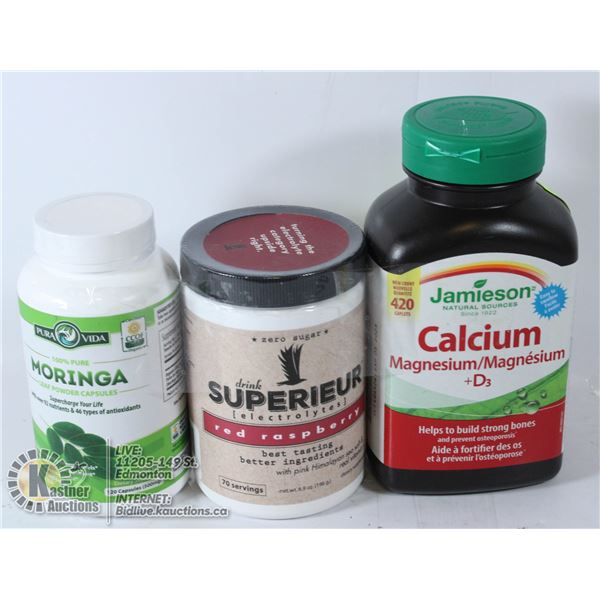 LOT OF 3 DIETARY SUPPLEMENTS-CALCIUM, ELECTROLYTES