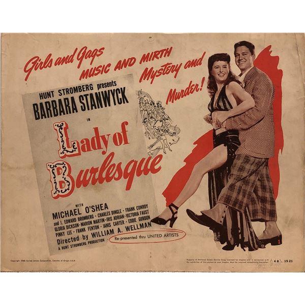 Lady of Burlesque Original 1948R Vintage Lobby Card