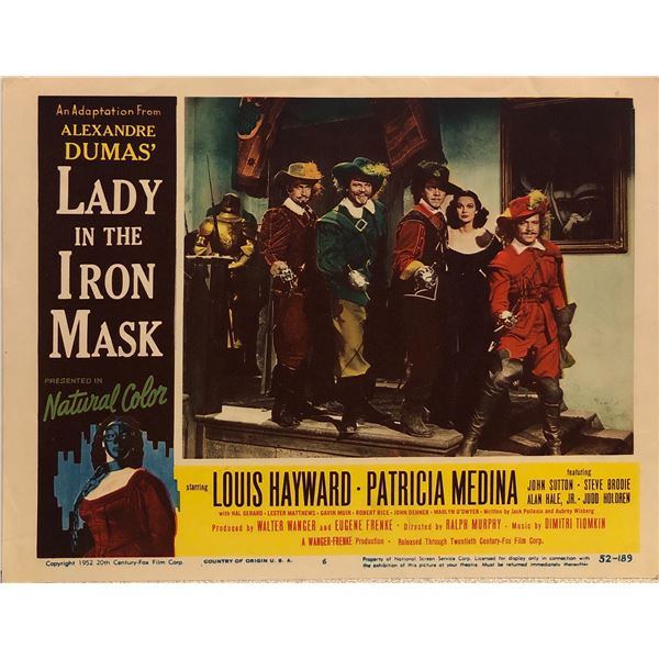 Lady in the Iron Mask Original 1952 Vintage Lobby Card