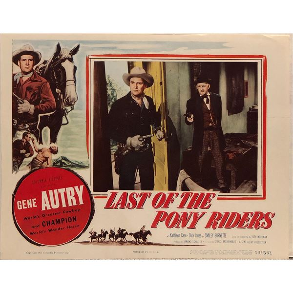 Last Day of the Pony Riders Original 1953 Vintage Lobby Card
