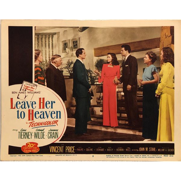 Leave Her to Heaven Original 1952R Vintage Lobby Card
