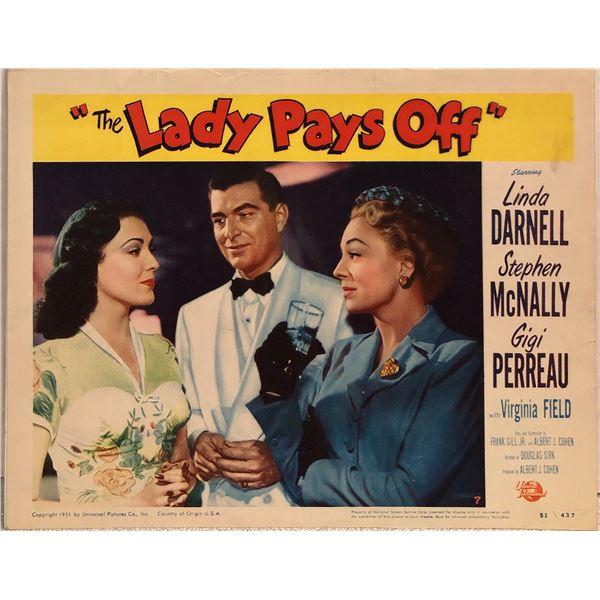 Lady Pays Off Original 1951 Vintage Lobby Card