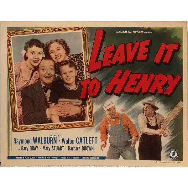 Leave it to Henry Original 1949 Vintage Lobby Card