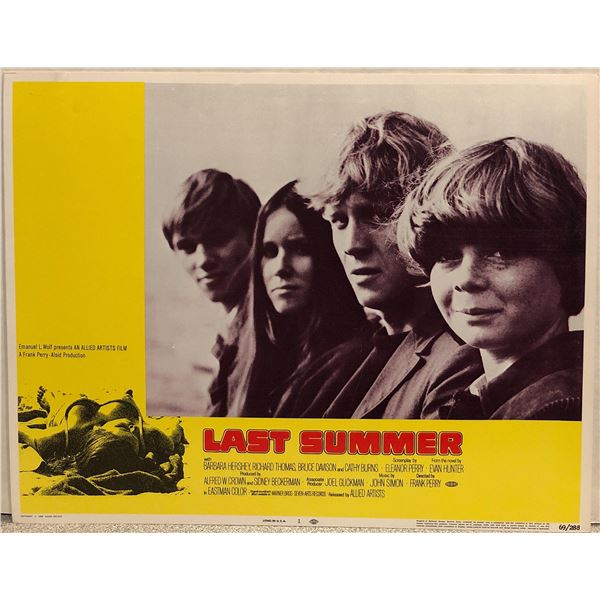 Last Summer Original 1969 Vintage Lobby Card