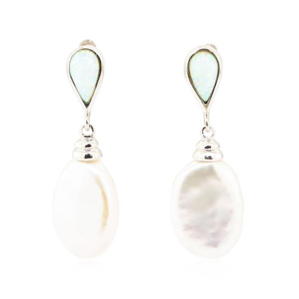 0.60 ctw Opal and Baroque Pearl Earrings - 18KT White Gold