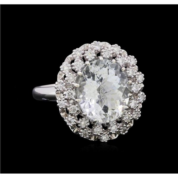 4.55 ctw Aquamarine and Diamond Ring - 14KT White Gold