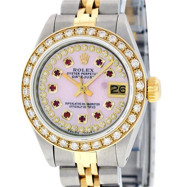 Rolex Ladies 2 Tone Pink MOP Ruby String Diamond Datejust Wristwatch