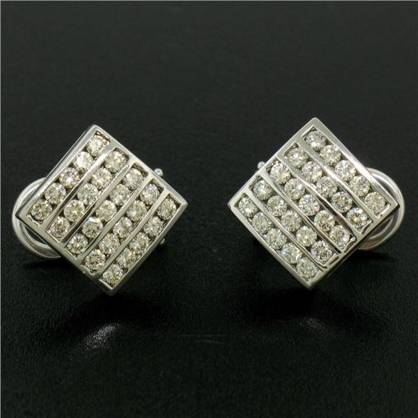 14K White Gold 1.50 ctw 50 Round Diamond Square Multi Channel Omega Back Earring