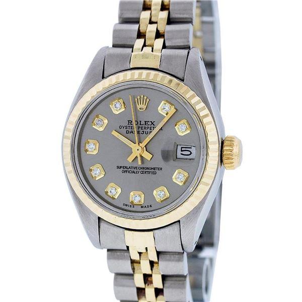 Rolex Ladies 2 Tone Slate Grey Diamond 26MM Datejust Wristwatch