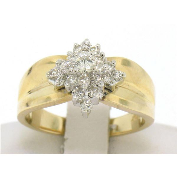 14k Yellow Gold 0.50 ctw Terraced Round Brilliant Diamond Cluster Cocktail Ring