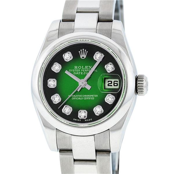 Rolex New Style Ladies Stainless Steel Green Vignette Diamond Quickset Datejust