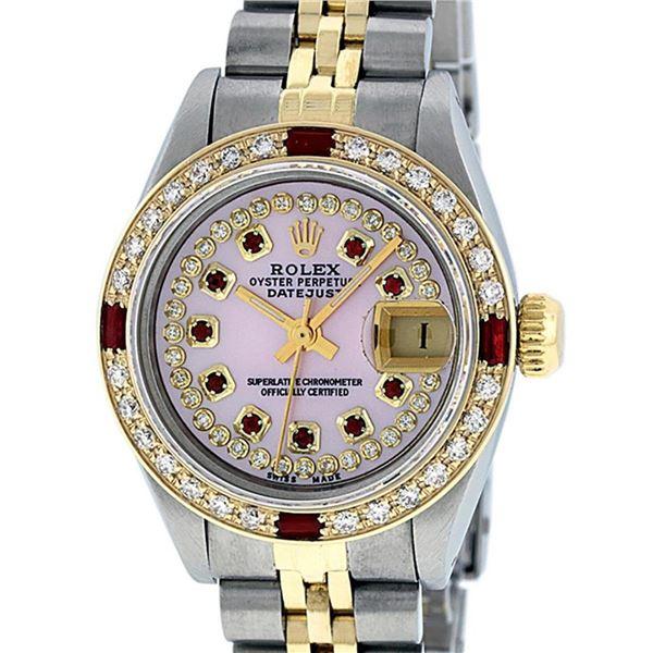 Rolex Ladies 2 Tone Pink MOP Diamond & String Ruby 26MM Datejust Wristwatch
