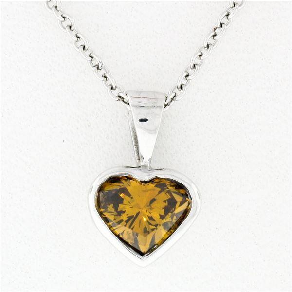 14k White Gold GIA 0.70 ctw Fancy Deep Brown Orange Heart Natural Diamond Pendan