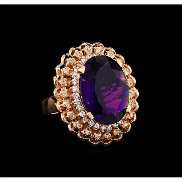 14KT Rose Gold 9.45 ctw Amethyst and Diamond Ring
