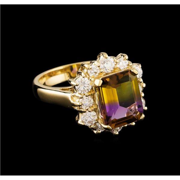 2.65 ctw Ametrine and Diamond Ring - 14KT Yellow Gold