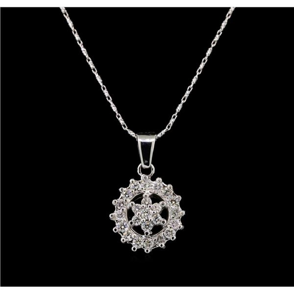 14KT White Gold 0.71 ctw Diamond Pendant With Chain