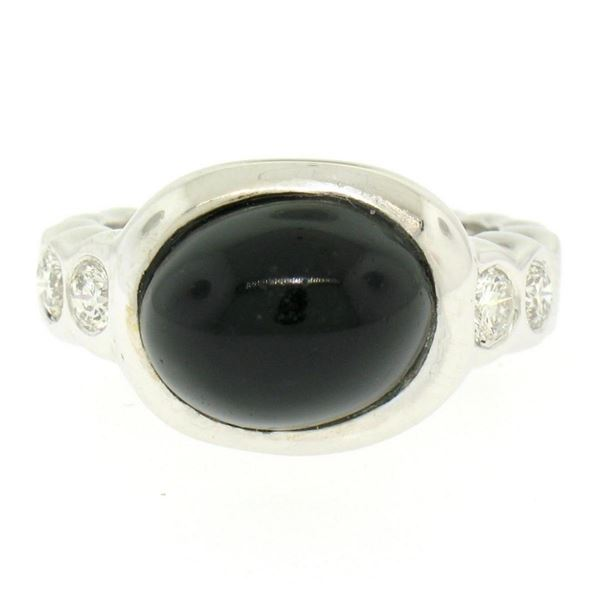 18K White Gold Oval Bezel Set Black Onyx Burnish Set Diamond Bubble Ring