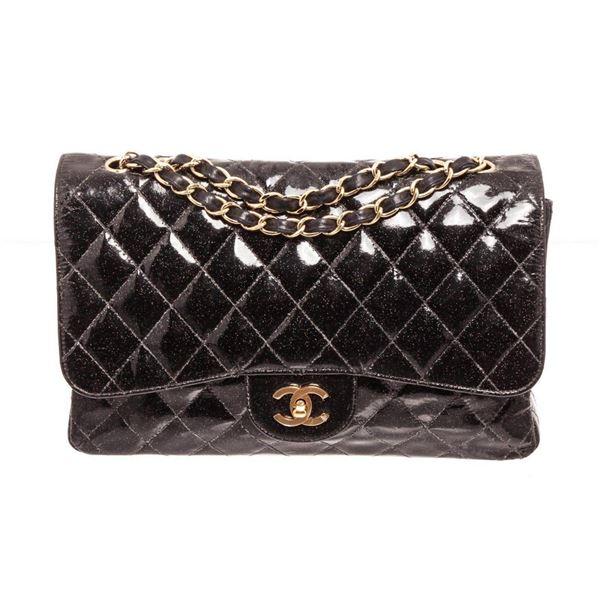 Chanel Black Glitter Patent Leather Jumbo Flap Shoulder Bag