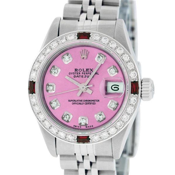Rolex Ladies Stainless Steel Quickset Pink Diamond & Ruby Wristwatch 26MM