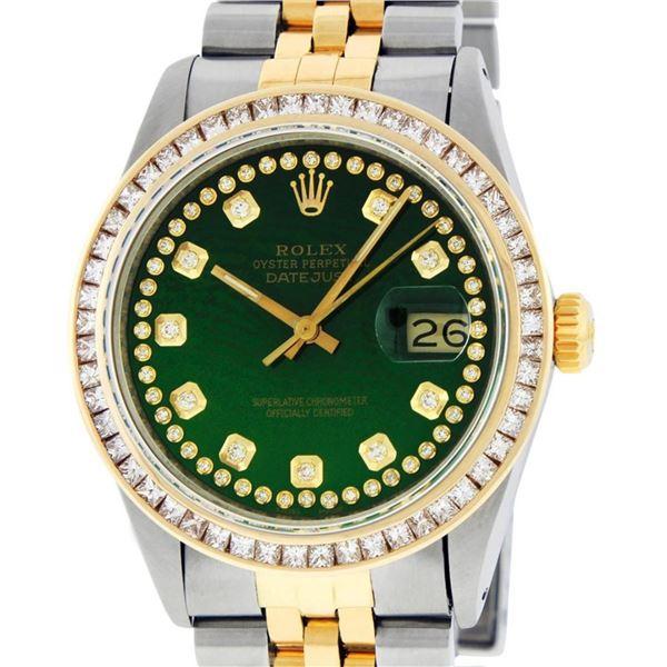 Rolex Mens 2 Tone Green Vignette Princess Cut Diamond Datejust Wristwatch
