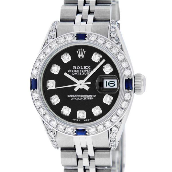 Rolex Ladies Stainless Steel Black Diamond Lugs & Sapphire Datejust 26MM