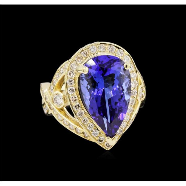 14KT Yellow Gold 7.74 ctw GIA Cert Tanzanite and Diamond Ring