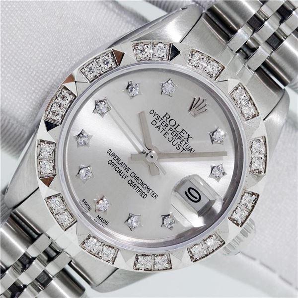 Rolex Ladies Stainless Steel Silver Star Pyramid Diamond Datejust Wristwatch