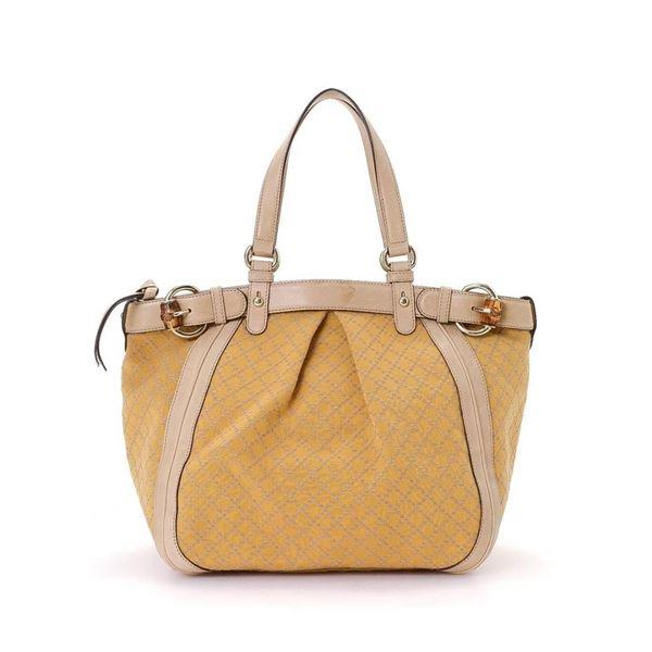 Gucci Yellow Canvas Diamante Tote Bag