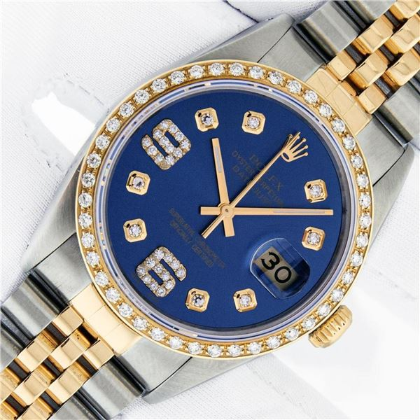 Rolex Mens 2 Tone Blue Diamond 36MM Datejust Wristwatch With Rolex Box