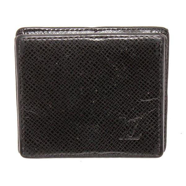 Louis Vuitton Black Taiga Leather Square Coin Case