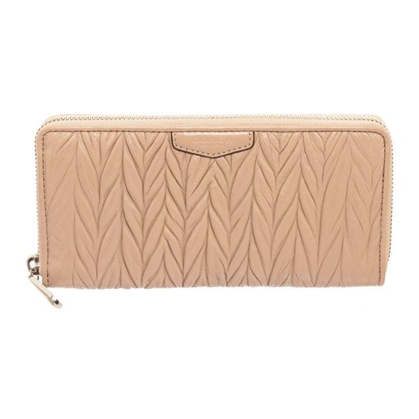 Coach Beige Gathered Leather Zippy Wallet
