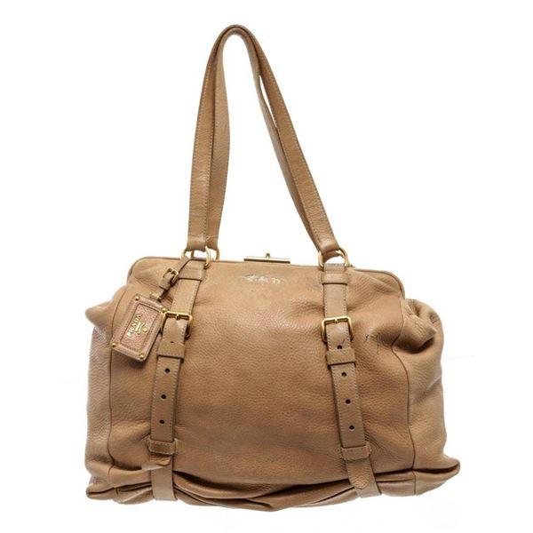 Prada Beige Cervo Leather Buckle Tote Bag
