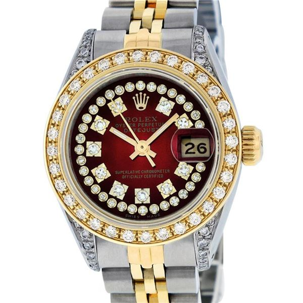 Rolex Ladies 2 Tone Red Vignette Diamond Lugs 26MM Oyster Perpetual Datejust Wri