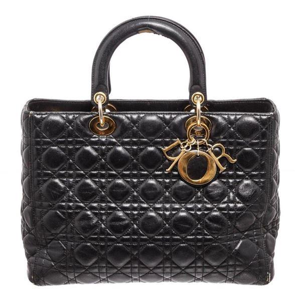 Christian Dior Black Leather Lady Dior Tote Bag