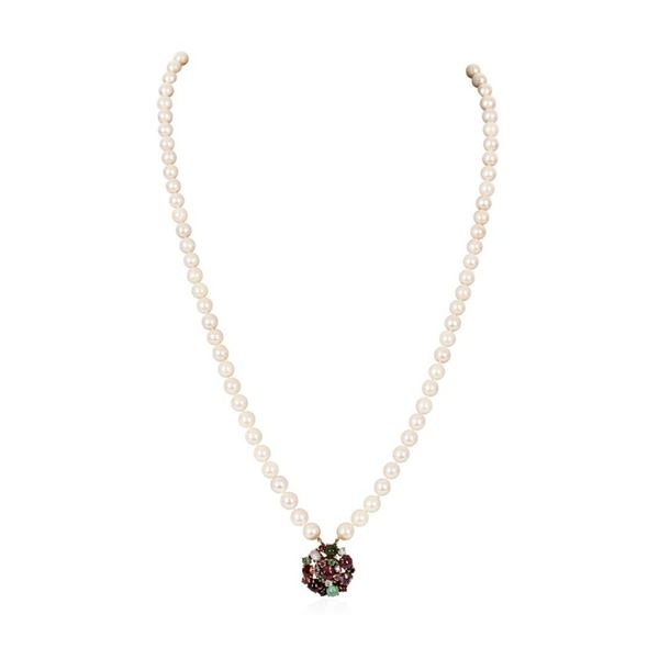 Double Strand Pearl Choker Necklace with 14KT Yellow Gold Multi-Color Stone Clas