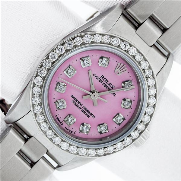 Rolex Oyster Perpetual Pink Diamond Bezel With Box & Booklets Serviced Polished