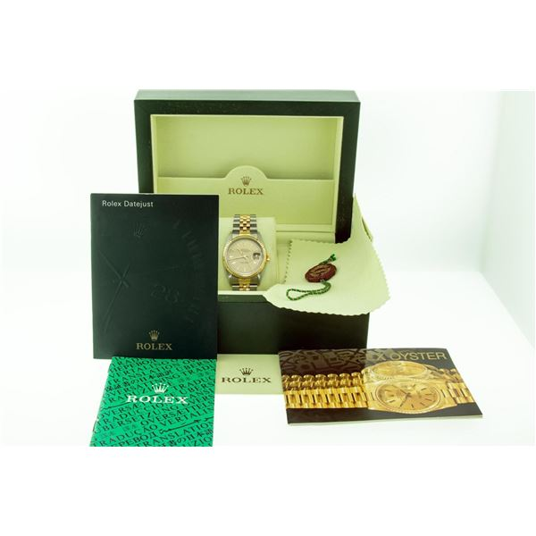 Rolex Datejust Mens 36 Rare Houndstooth Dial Box Booklets Serviced Polished Oyst