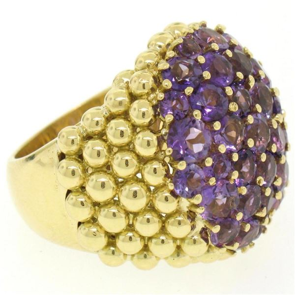 18K Yellow Gold 7.50 ctw Round Amethyst Domed Popcorn Cluster Ring
