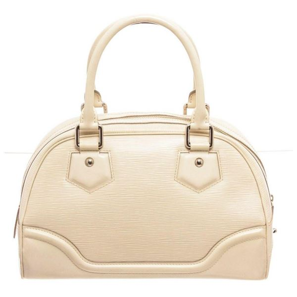 Louis Vuitton Cream Epi Bowling Montaigne PM Handbag